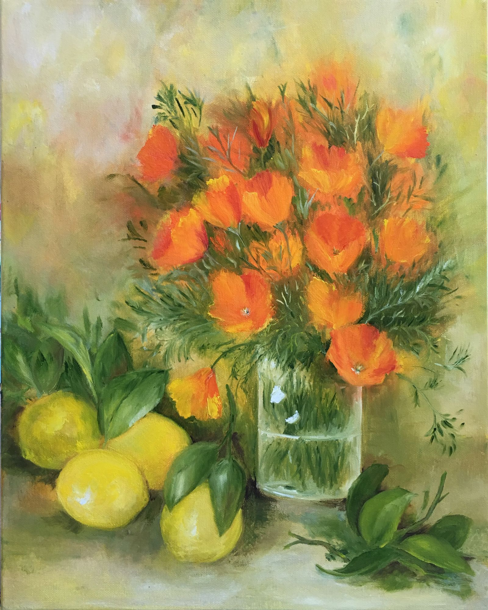 "California Poppies and Meyer Lemons  20"" x 16""  Oil"
