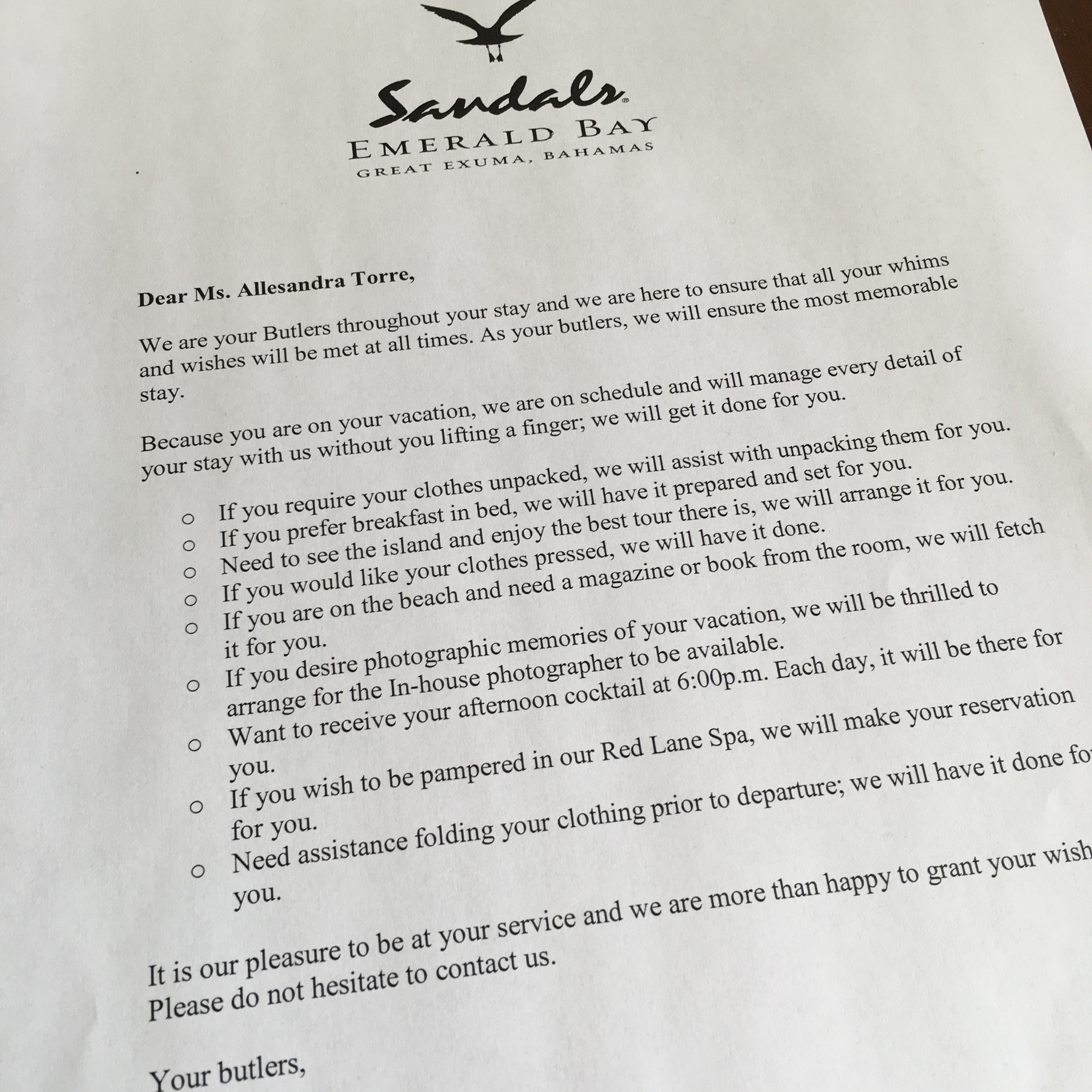The letter from our Butlers