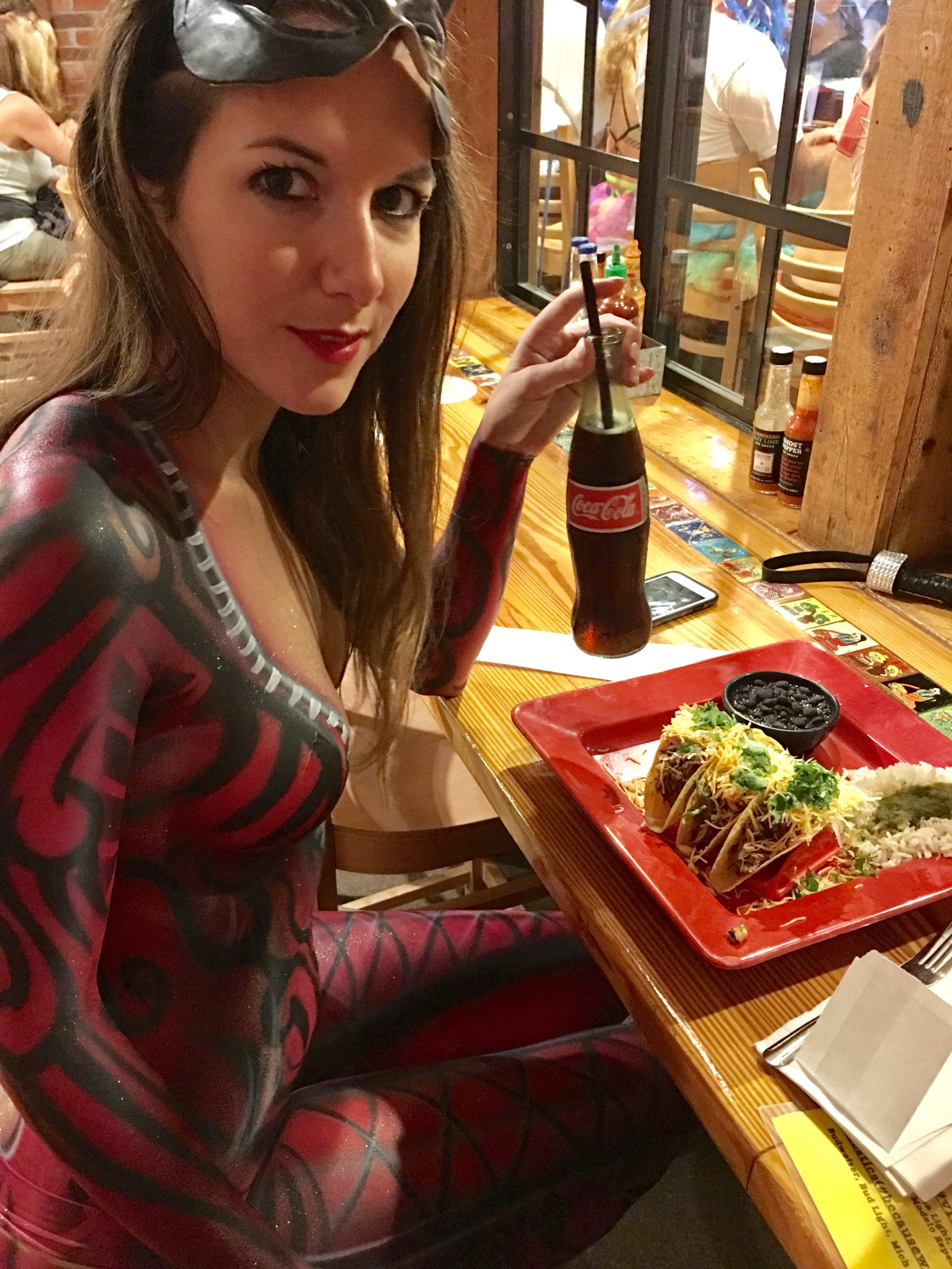 Alessandra Torre - Late dinner at Amigos Tortilla - the best tacos in Key West! And they didn't even blink at my body paint...