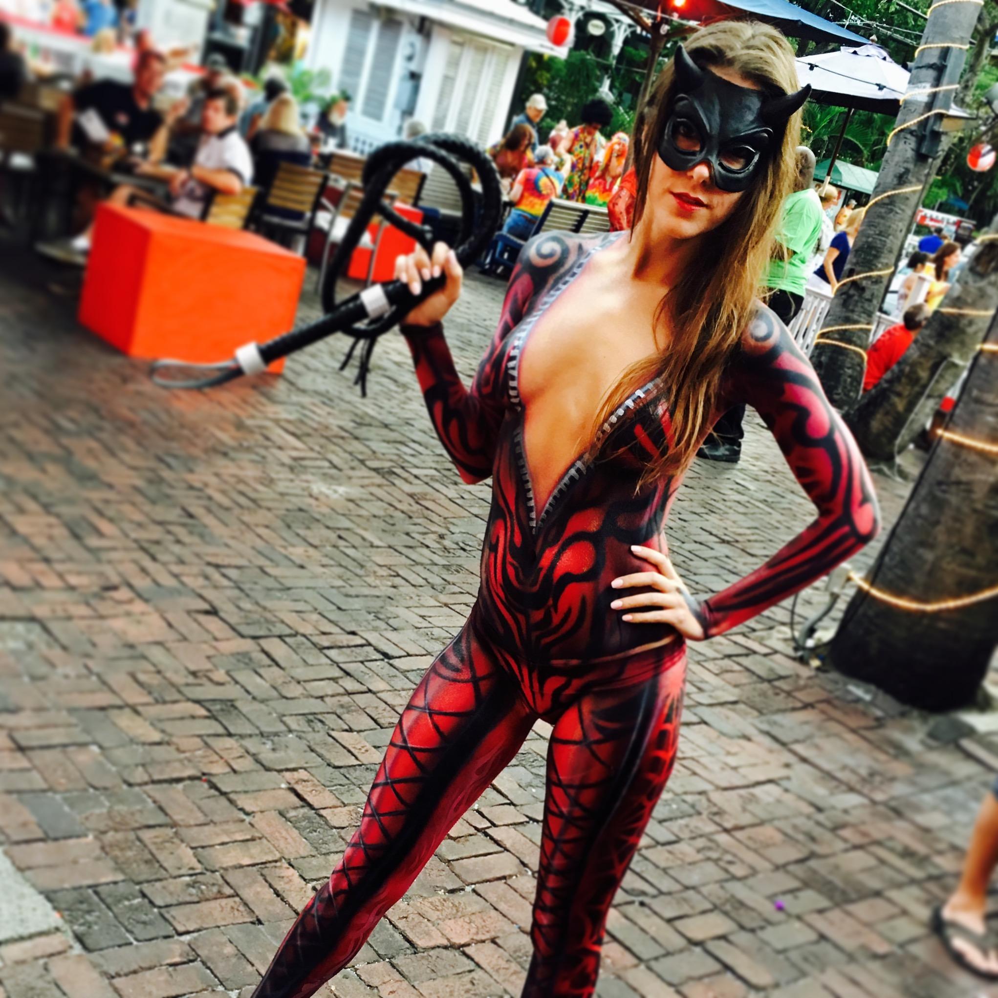 Alessandra Torre - red devil body paint fantasy fest key west 2016