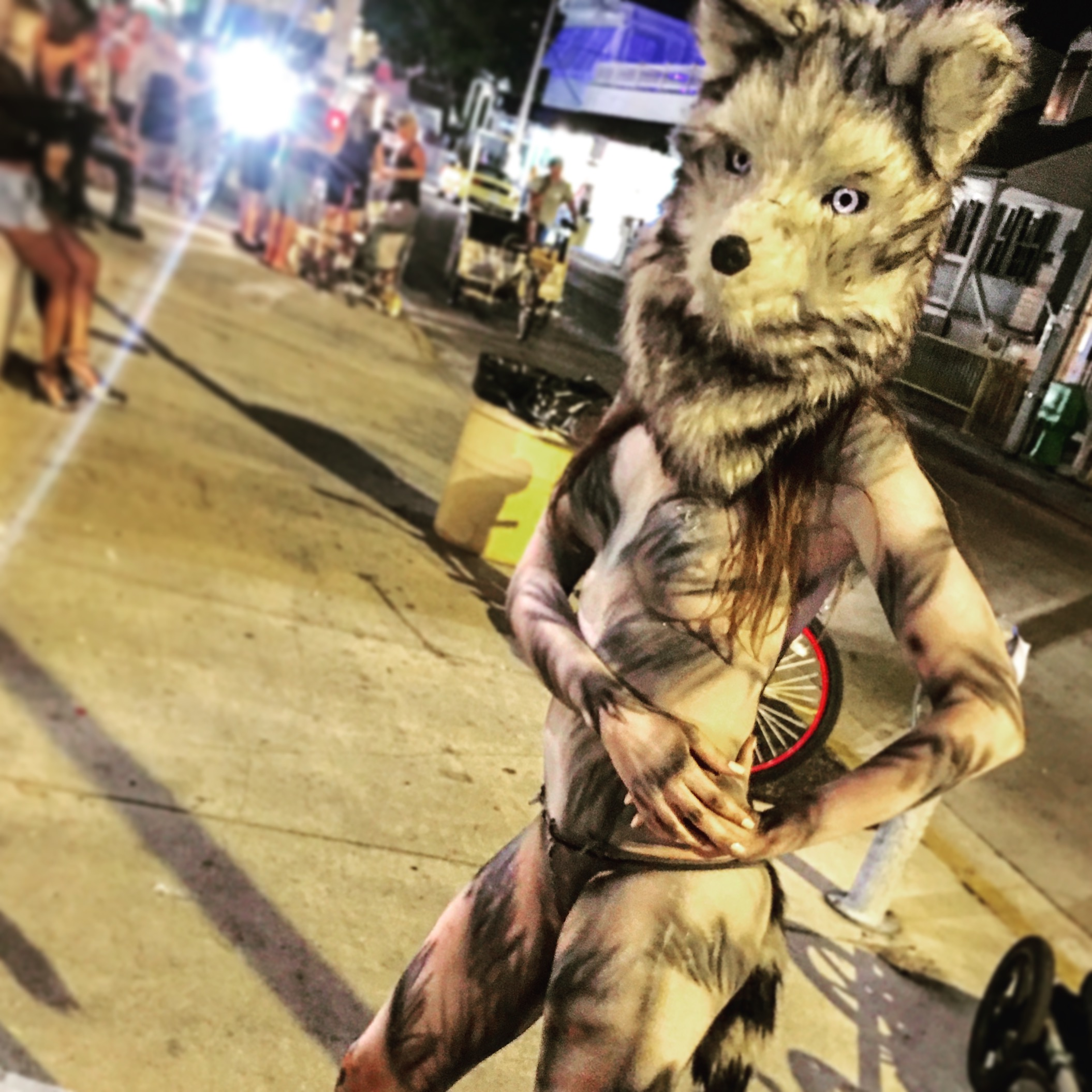 Alessandra Torre in wolf body paint at Fantasy Fest 2016 in Key West - nude closeup