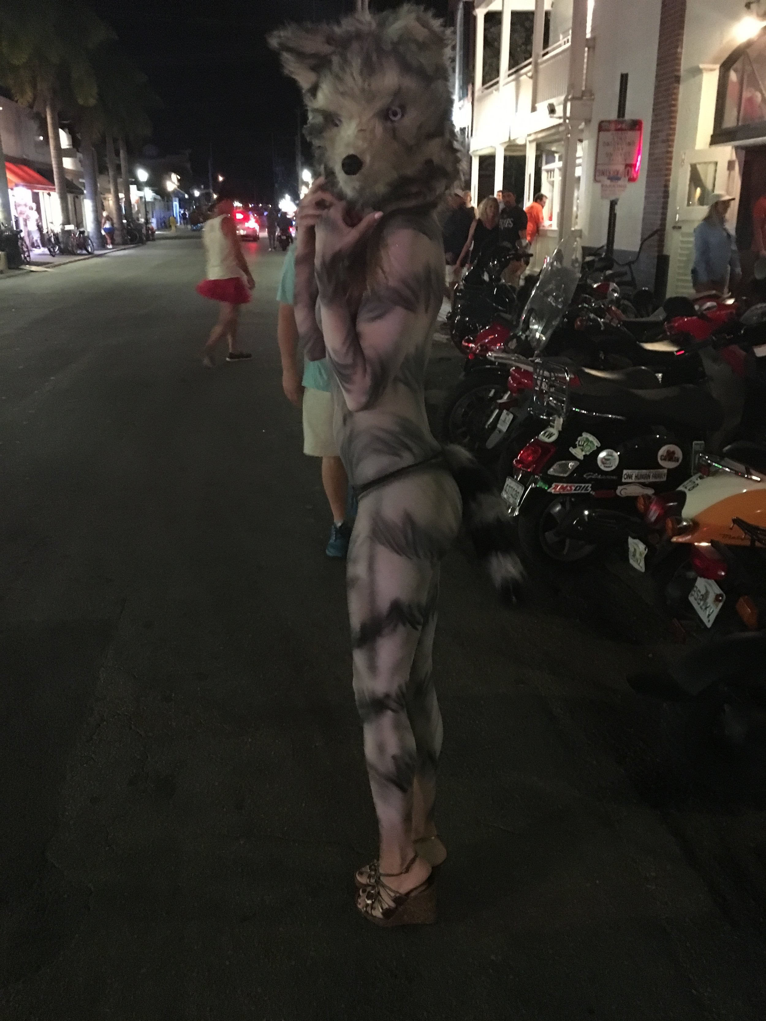 Alessandra Torre in wolf body paint and costume head at Fantasy Fest 2016 in Key West - nude