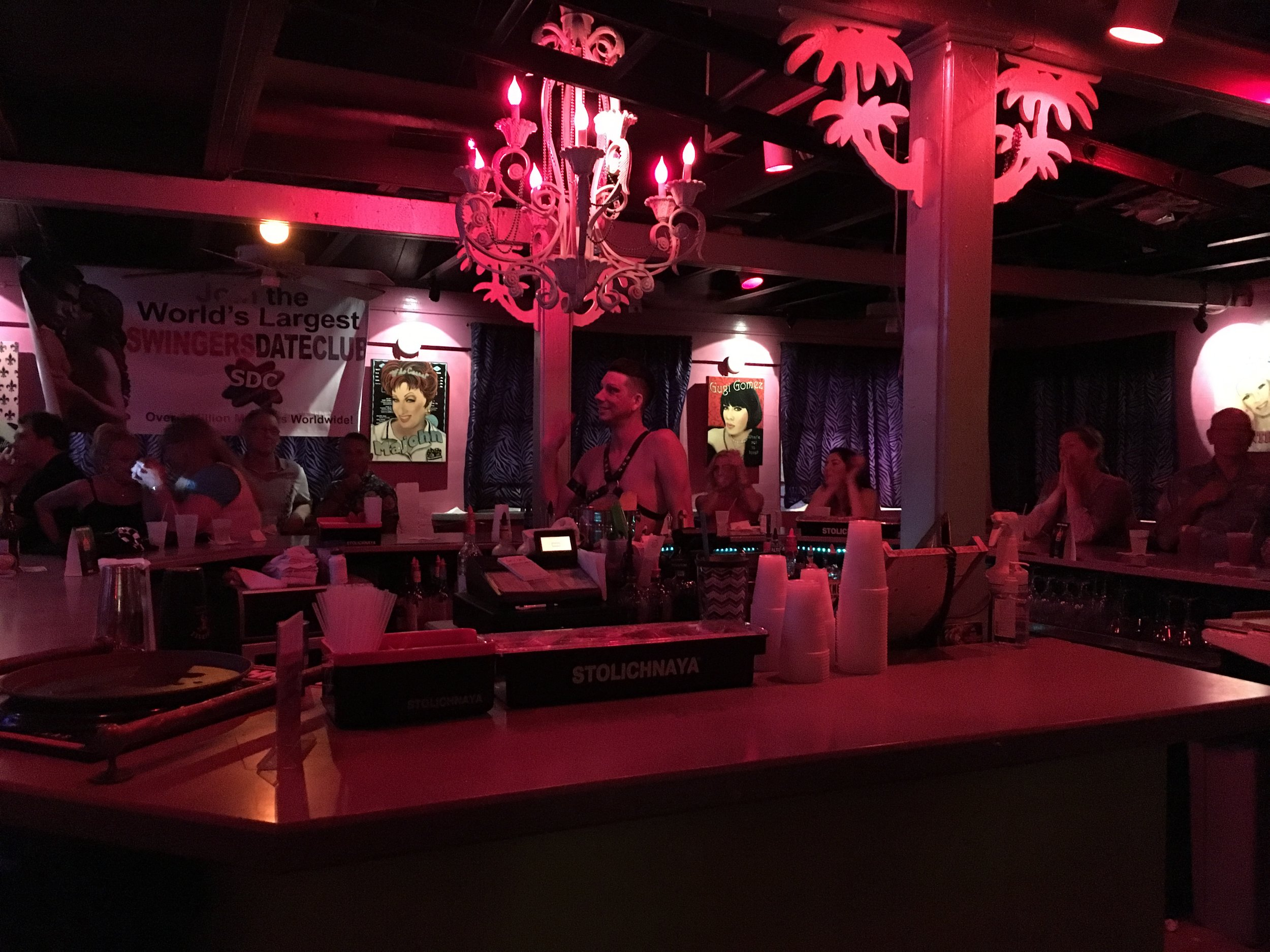 fantasy fest 2016 key west crowd shots pictures body paint nudity bar at 801 bourbon street