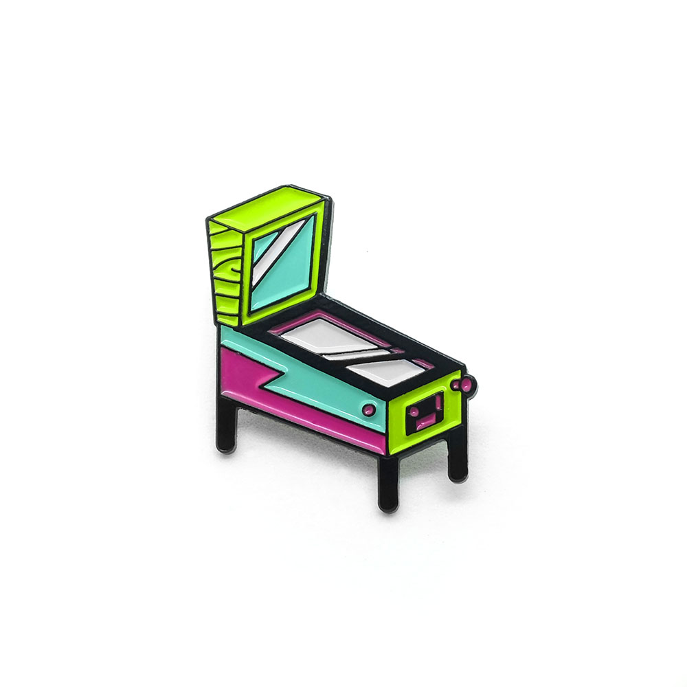 "LLS017-N : Pinball (Neon) Soft Enamel Pin 1.12"" x 1"" $4"