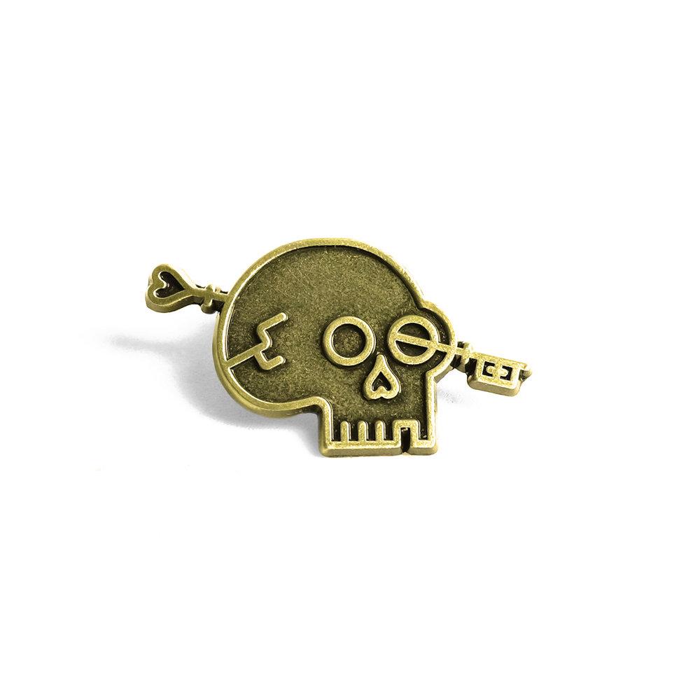 "LLS001b : Lost Lust Logo (Brass) Antique Brass Pin 1.25"" x 0.75"" $4"