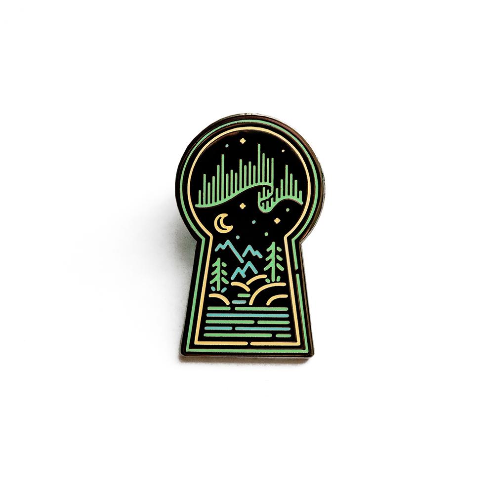 "LLS118 : Aurora Keyhole Hard enamel pin 1.3"" x 0.8"" $4"