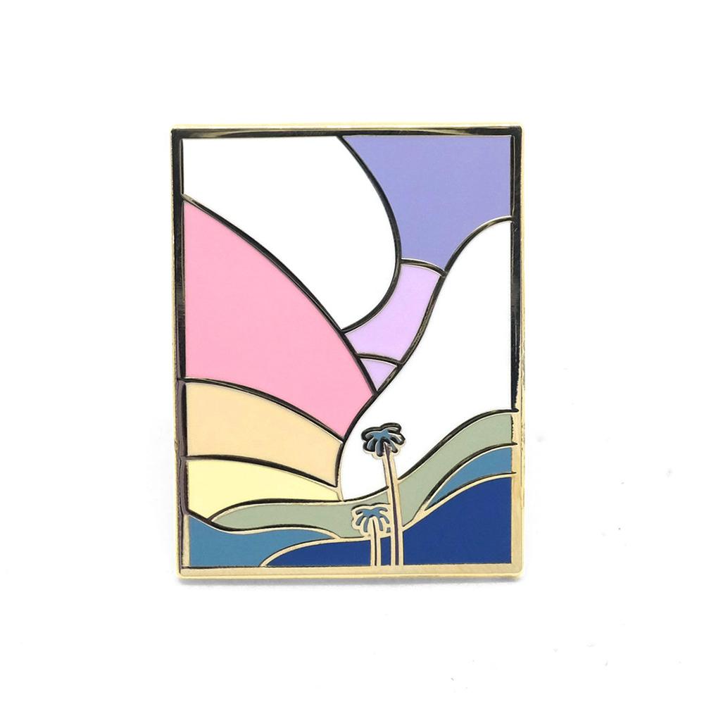 "LLS128 : Palm Dreams Hard enamel pin 1.3"" x 1"" $4"