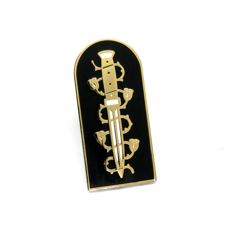 """LLS124-B :DOOM Dagger (Black) Hard enamel pin 1.35"""" x 0.82"""" $4"""
