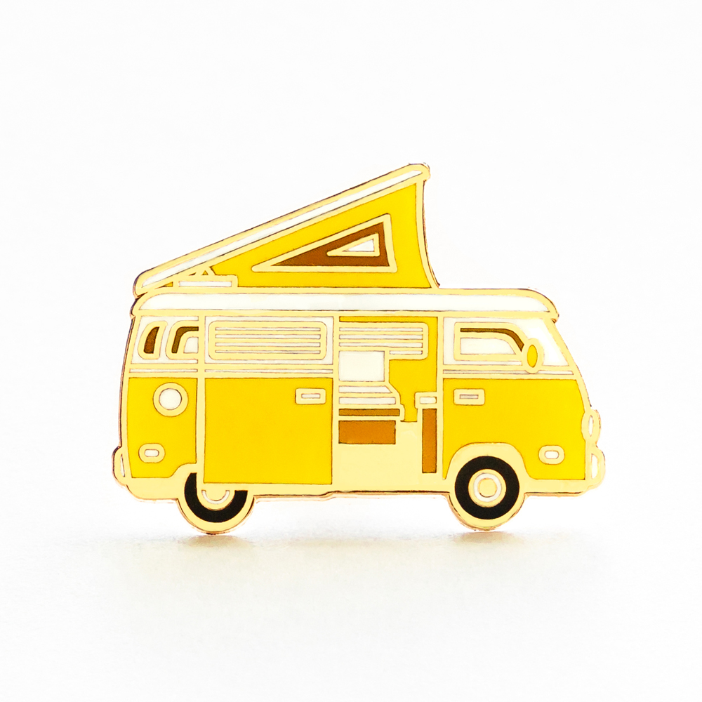 "LLS030-Y : Camper Van (Yellow) Hard Enamel Pin 1.3"" x 1"" $4 ETA TBD"
