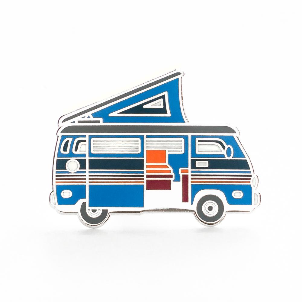 """LLS030-I : Camper Van (Blue) Hard Enamel Pin 1.3"""" x 1"""" $4"""