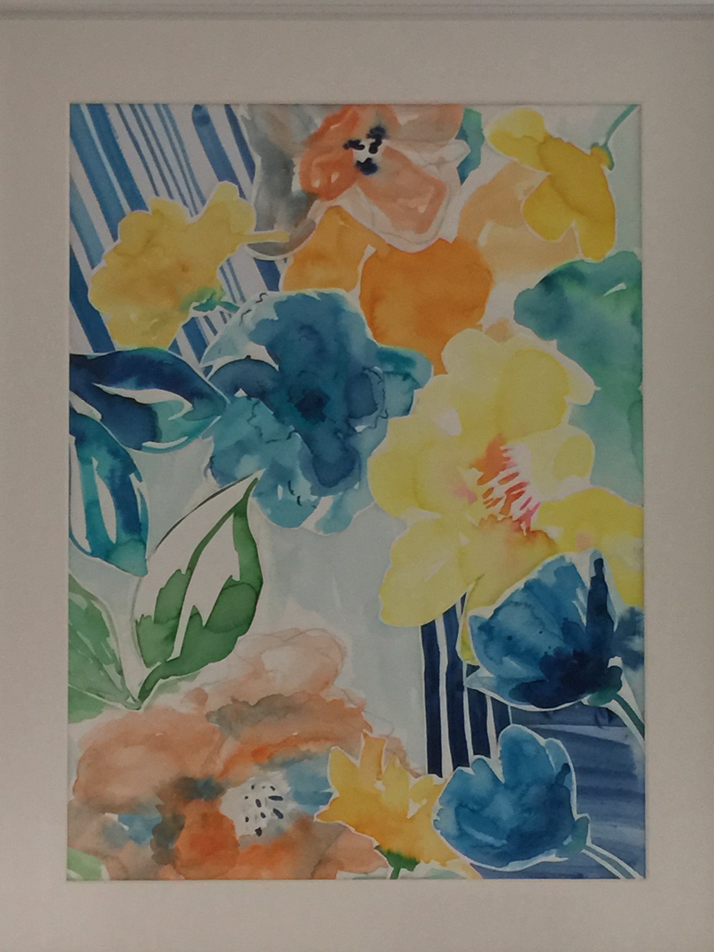 The final art work. I chose my favourite flowers to collage to make the design. This takes the pressure off trying to paint one perfect piece.