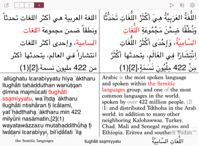 Top left:  the original unvocalized Arabic text   Top right:  a fully vocalized version of the Arabic text   Bottom left:  a learner-friendly romanized version of the text   Bottom right:  an English translation (or any other language)