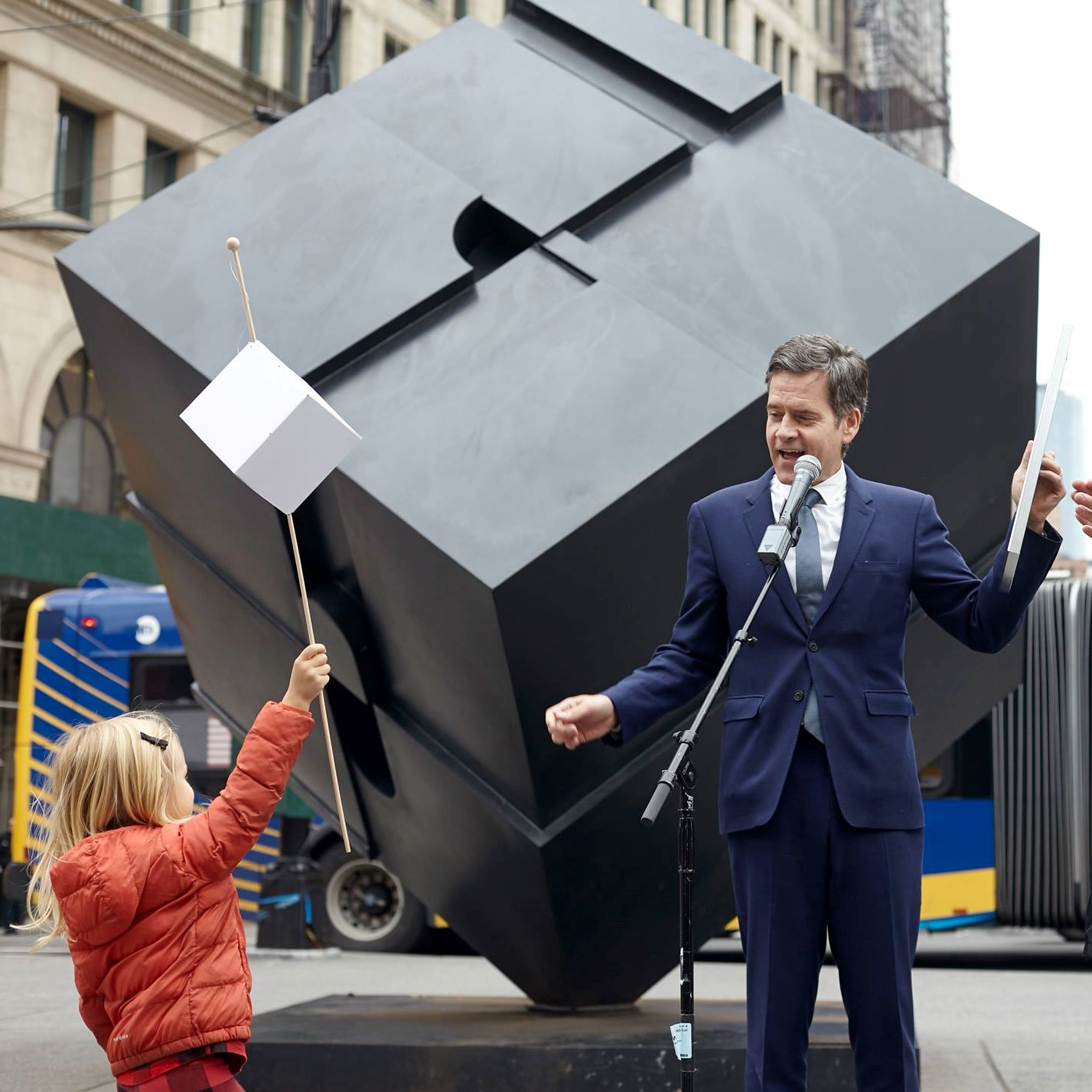 "New York's iconic Alamo sculpture, ""the Cube"", turned 50 on November 1, 2017,with a huge party to celebrate the cities first ever piece of outdoor public art. Senator Brad Hoylman (pictured) officially proclaimed November 1 ""Alamo Appreciation Day""."