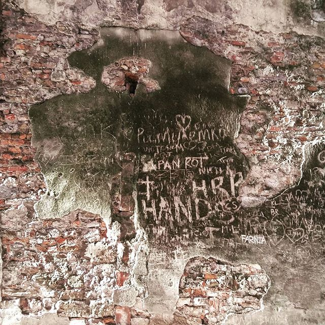 Writing on the wall | At one point along the narrow Via dei Bardi the buildings give way to a retaining wall that bears the signs of time's passage—as well as those who pass by. ▪ #viadeibardi #firenze #morningwalk #oldwall #graffiti #brick #patina #texture #timepassing #florence