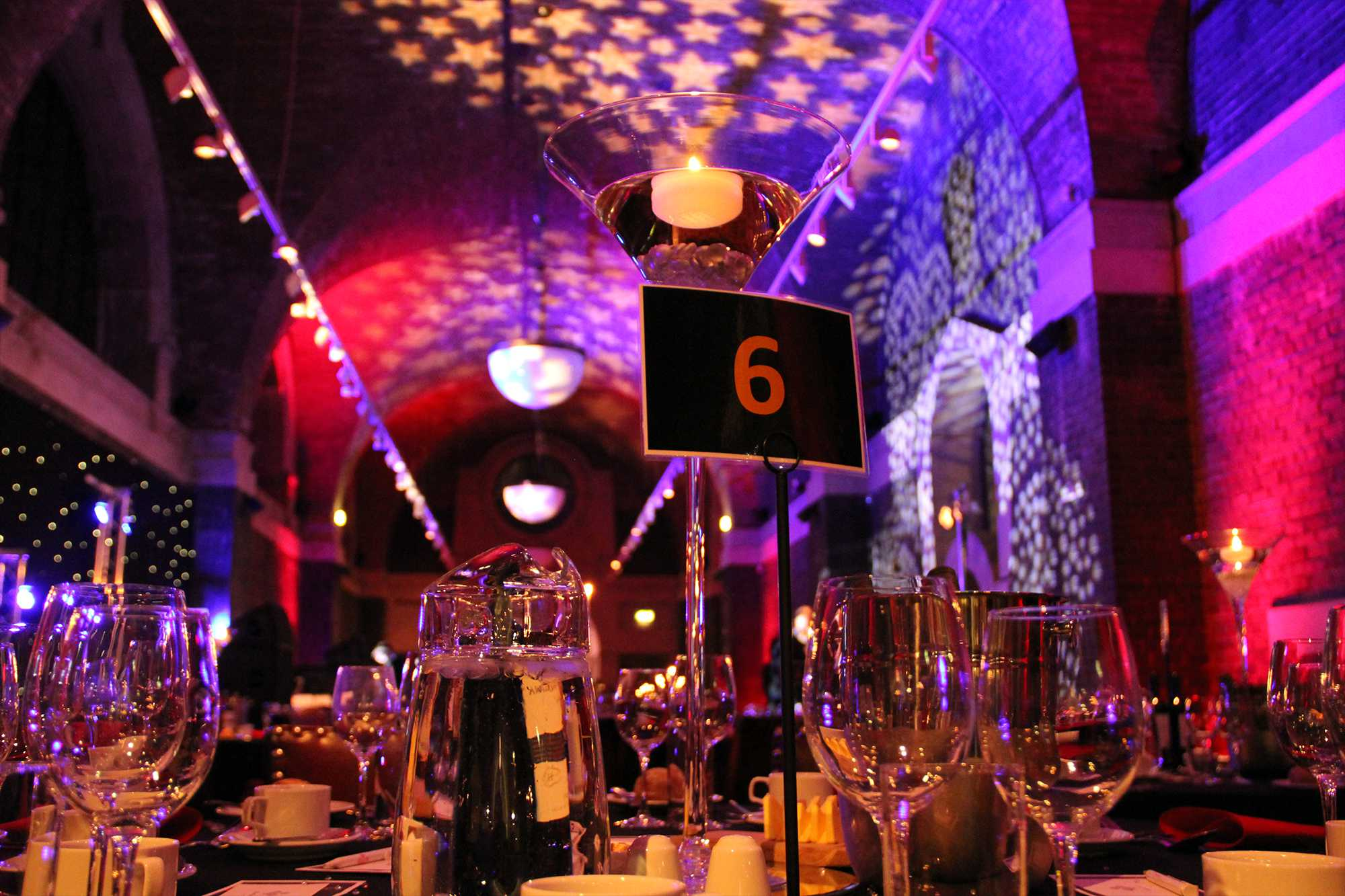 Gala Dinner Lighting & AV Production at Liverpool Cathedral Lutyens Crypt
