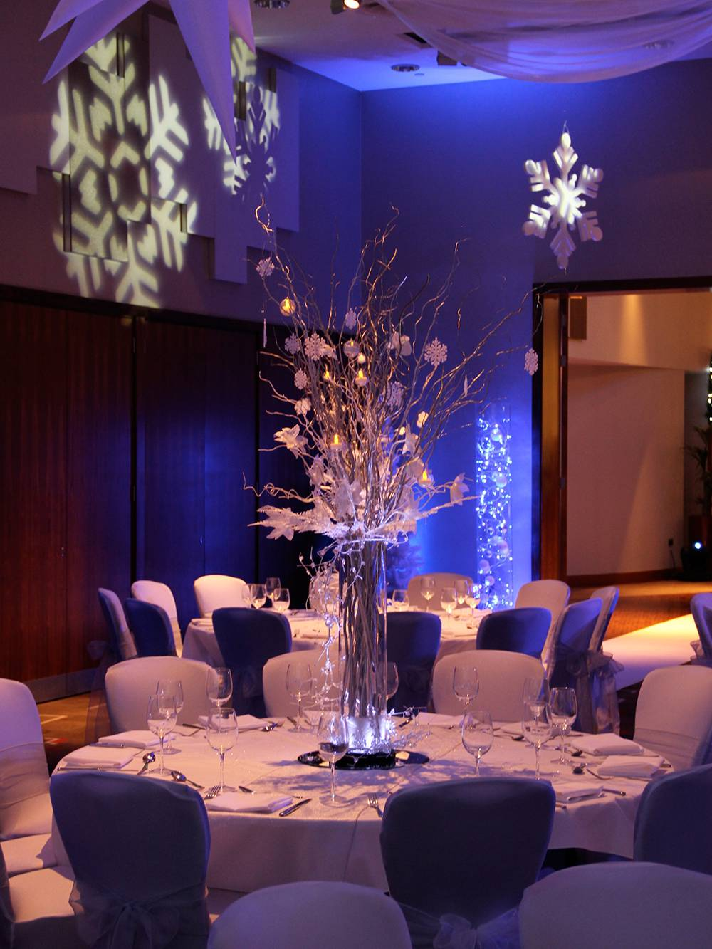 Winter Wonderland themed lighting at Hilton Hotel Liverpool