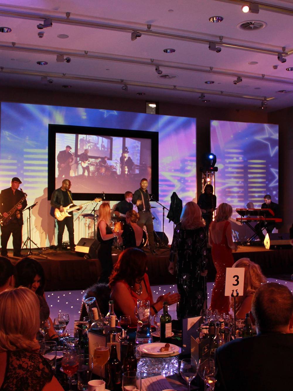 Band lighting, sound, staging and AV at a Gala Dinner at Hilton Hotel Liverpool One's Grace Suite
