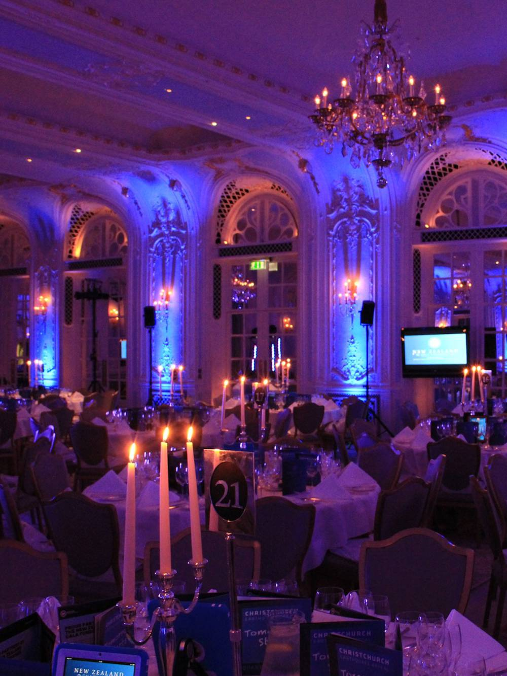 Gala Dinner Production and AV in The Lancaster Ballroom at Savoy Hotel London