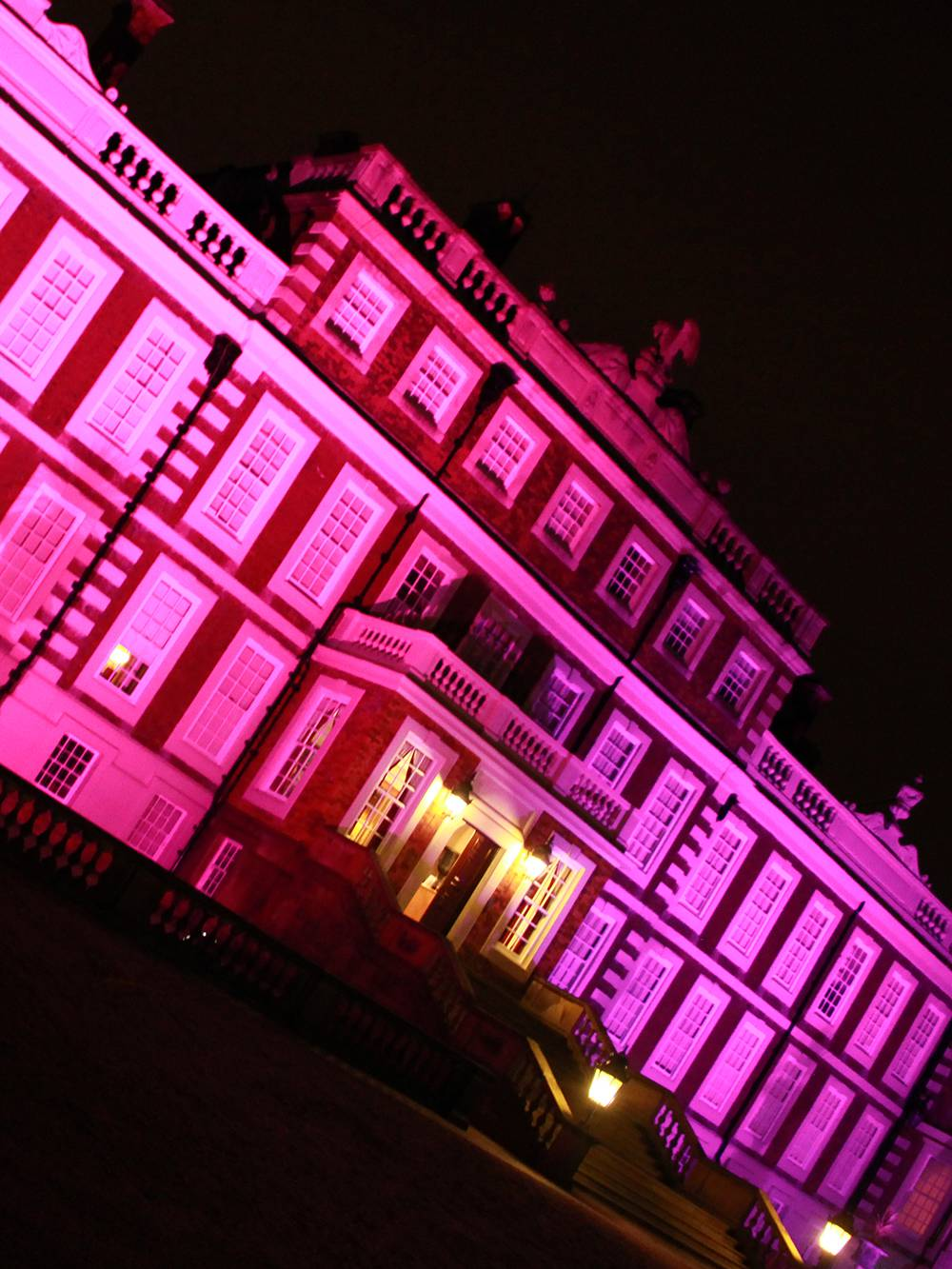 Lighting the outside of Knowsley Hall - the venue for a fashion show in Knowsley, Liverpool