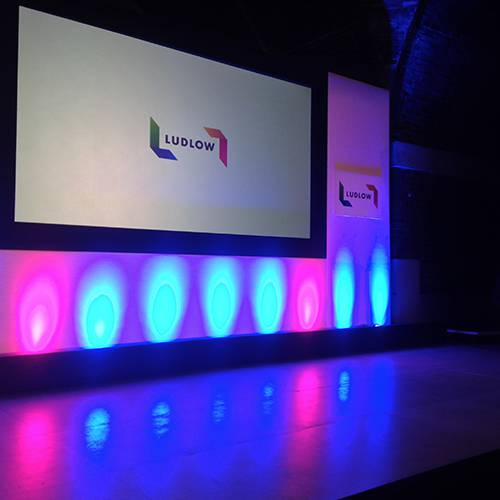 Conference Stage Set & Projection in The Concert Room at Liverpool Metropolitan Cathedral.