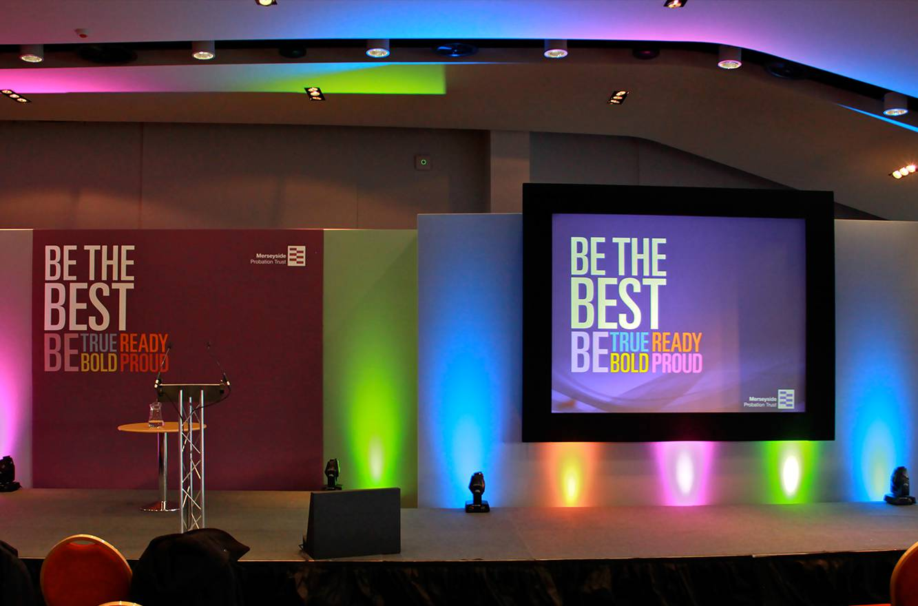 Conference AV including staging, projection, lectern, sound and lighting at Aintree Racecourse Liverpool.