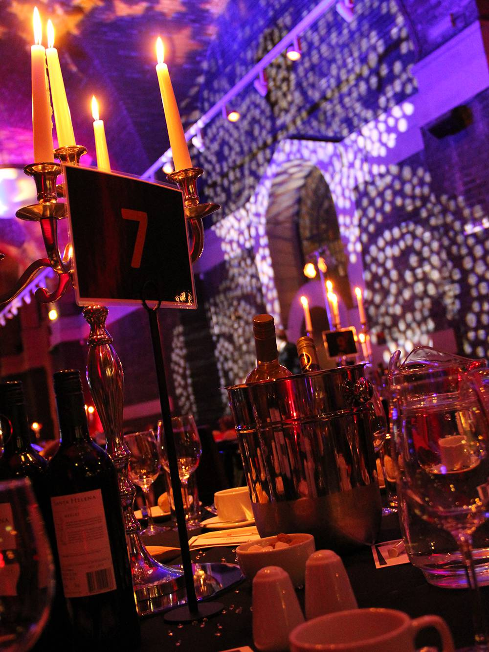 Themed lighting for a gala dinner at Liverpool Cathedral.