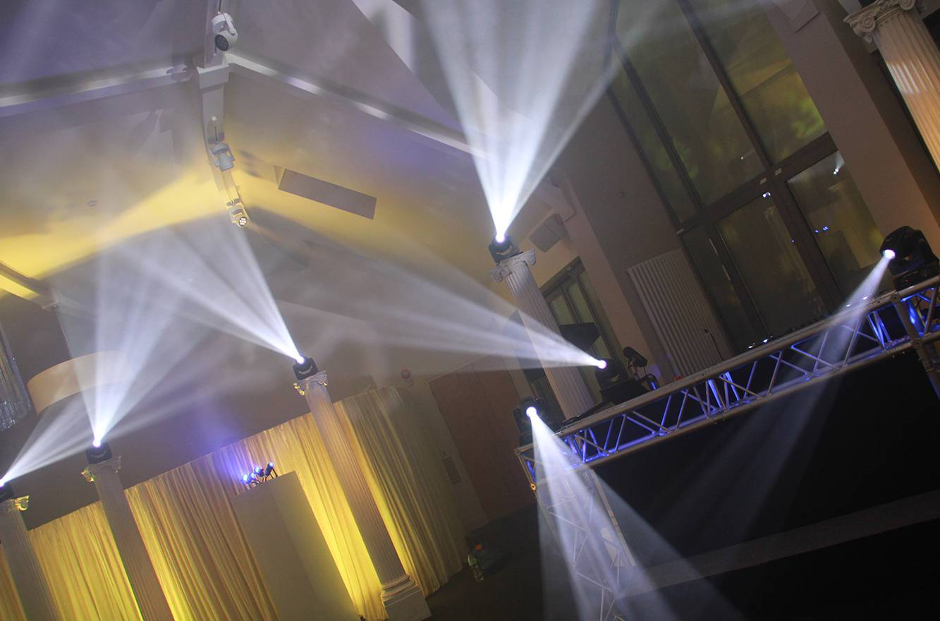Wedding Lighting Hire at a Private Venue in Cheshire. LED Uplighters, Moving Head Effects