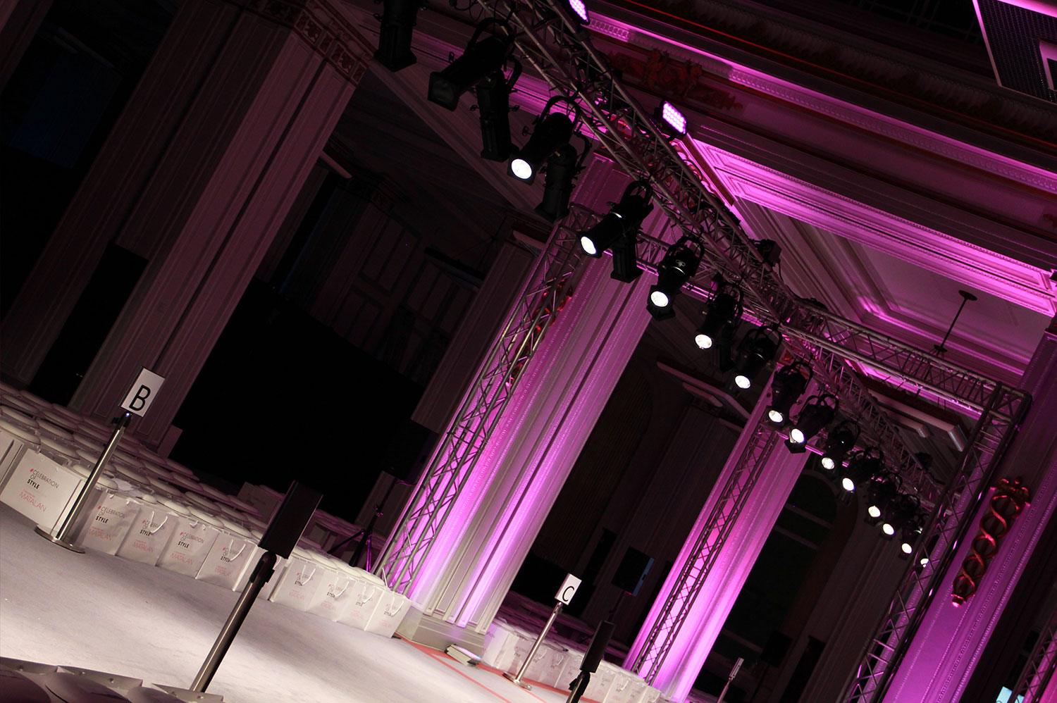 Fashion Show catwalk with lighting, sound and AV supplied by Stagetex.