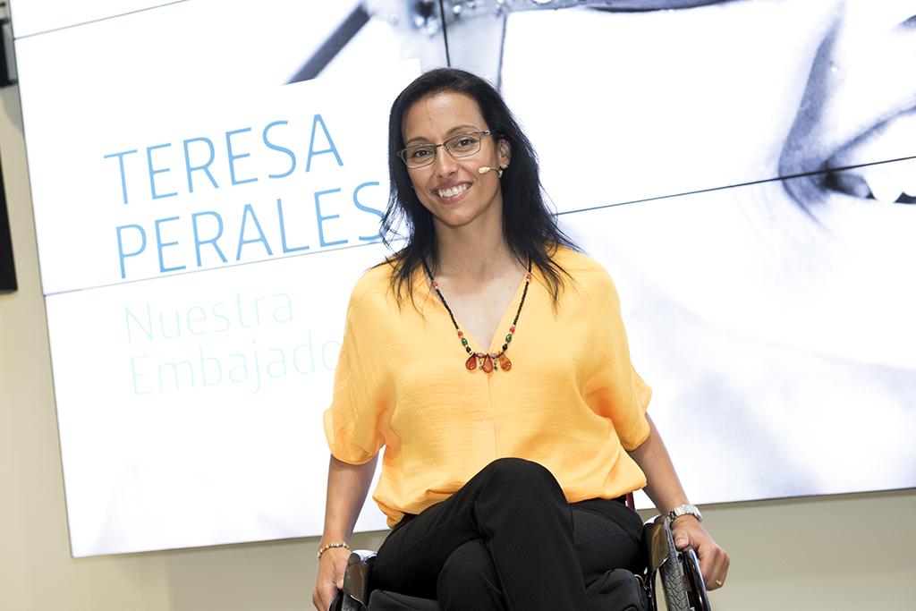 Teresa Perales durante una conferencia en la Fundación Telefónica en Madrid.  TERESA PERALES.
