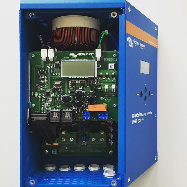 Inside view of Victron 150/70 MPPT charge controller we are sending for a solar classroom of 25 computers for #ebola orphans in #sierraleone for  local #ngo #developafrica #bridgingthedigitaldivide