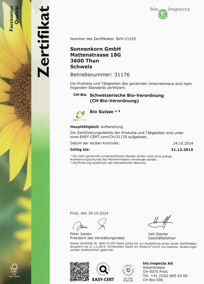 bio.inspecta Zertifikat 2015