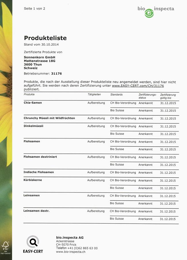 bio.inspecta Produktliste eins 2015