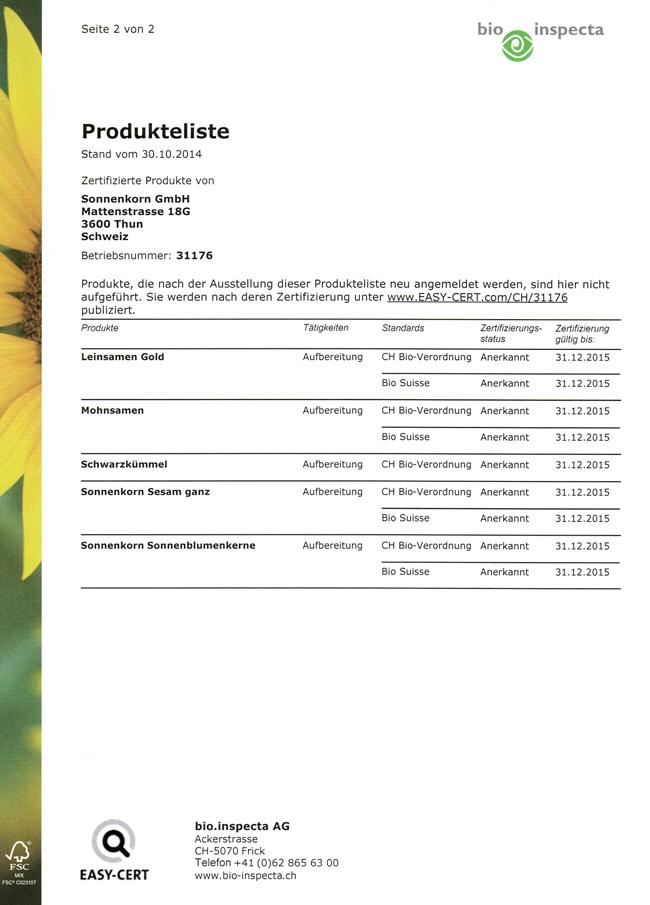 bio.inspecta Produktliste zwei 2015