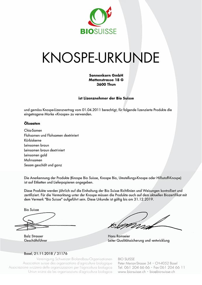 BIO SUISSE KNOSPE-URKUNDE Ölsaaten-Produkte
