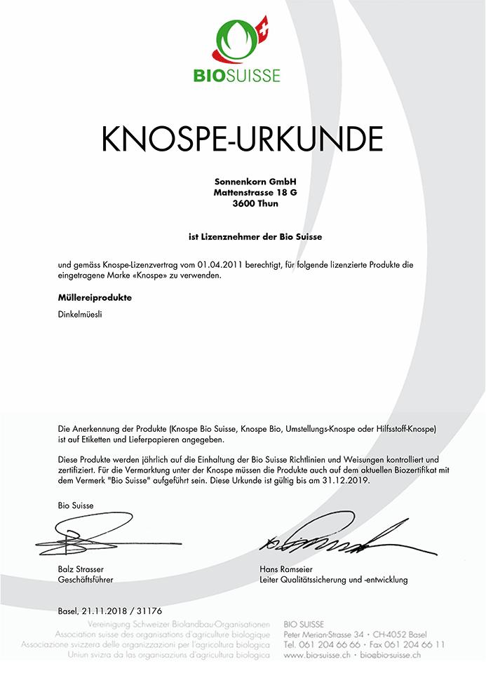 BIO SUISSE KNOSPE-URKUNDE Müllerei-Produkte