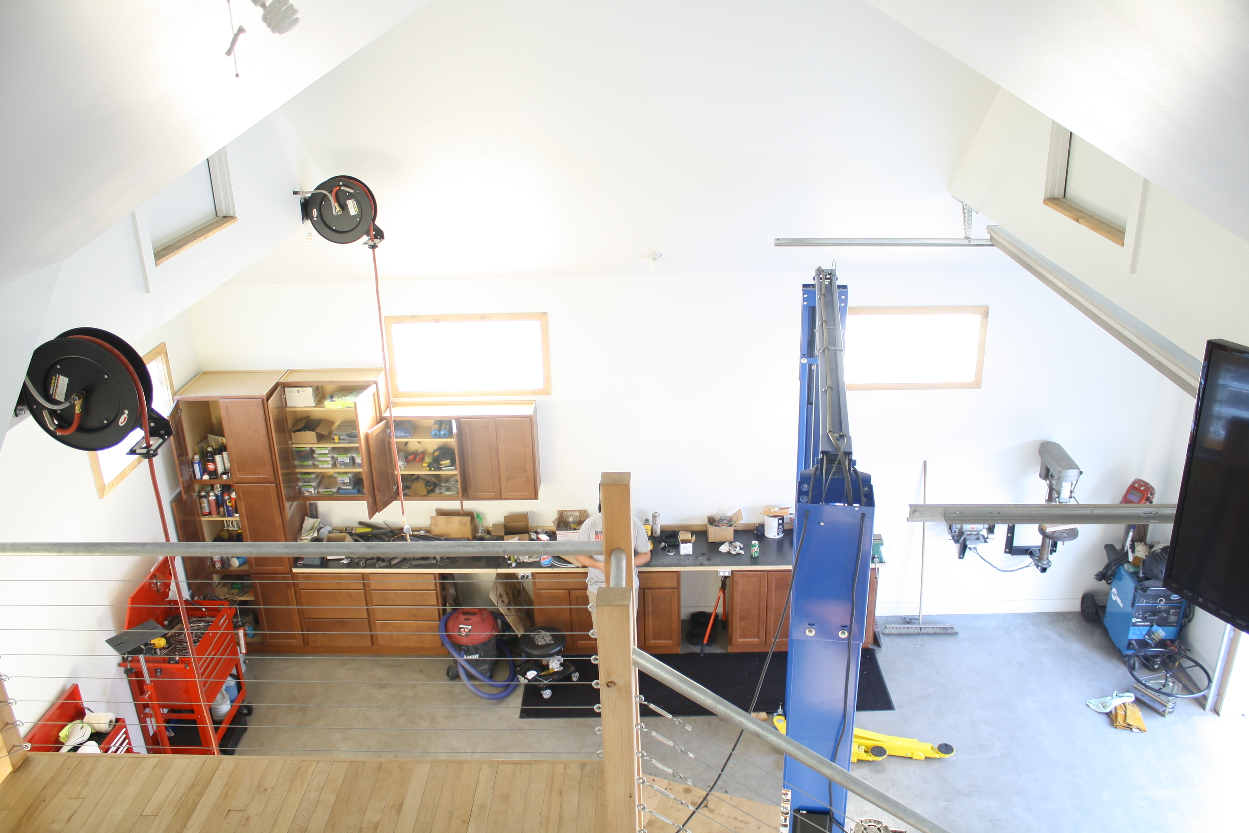 The view down into the shop area