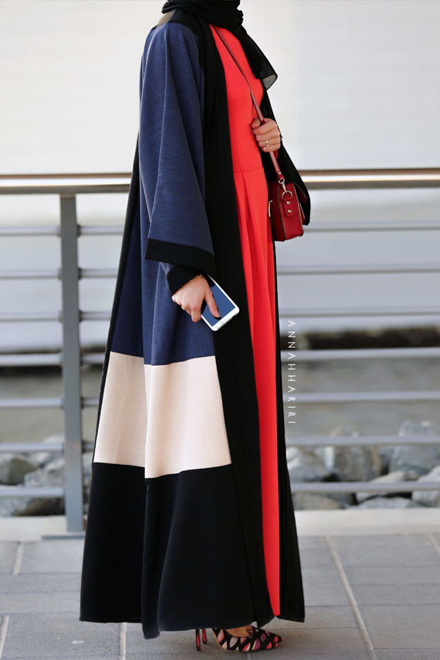 An abaya inspired by a modern colour block design. The neutral colours work perfectly togethers.