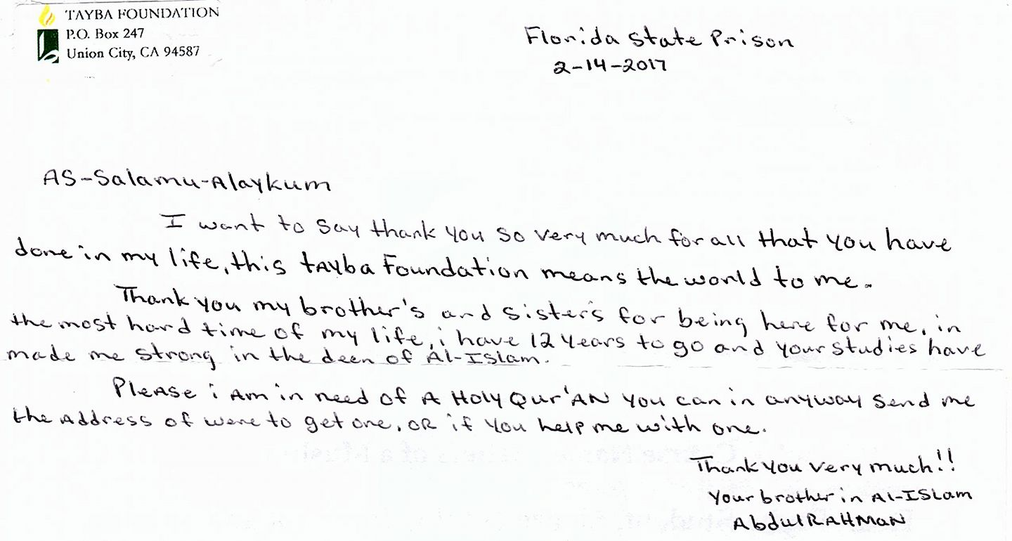 A letter from an inmate in Florida