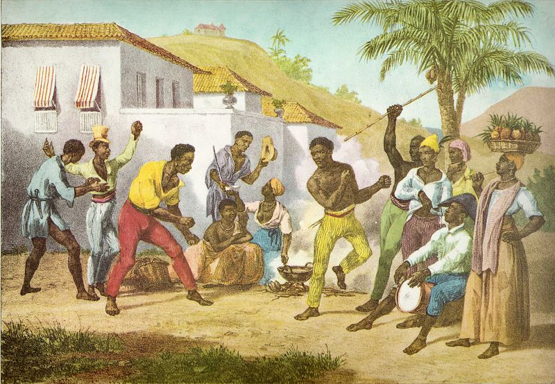"Slaves performing ""Capoeira,"" a Brazilian martial art, 1825"
