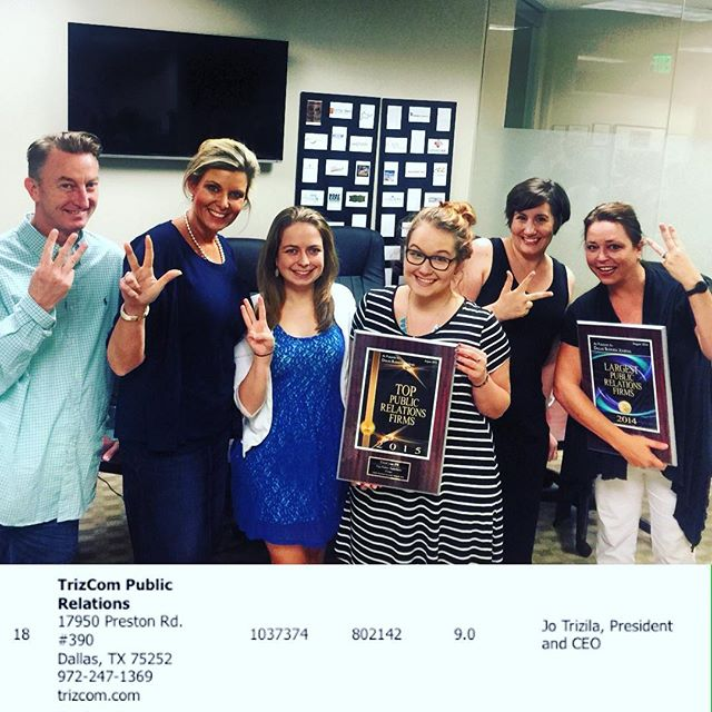 "From the TrizCom    Instagram    page, celebrating our 3rd year on the Dallas Business Journal's ""Largest PR Firms"" list."