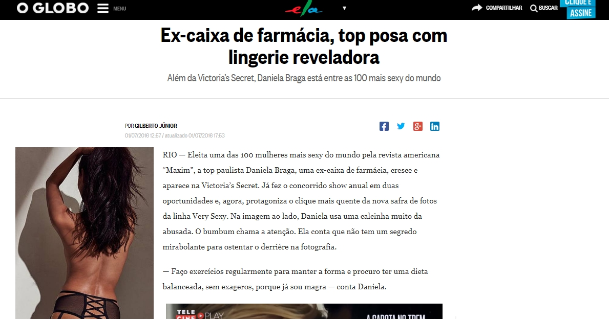 Click here to read the article:  https://oglobo.globo.com/ela/gente/ex-caixa-de-farmacia-top-posa-com-lingerie-reveladora-19623814