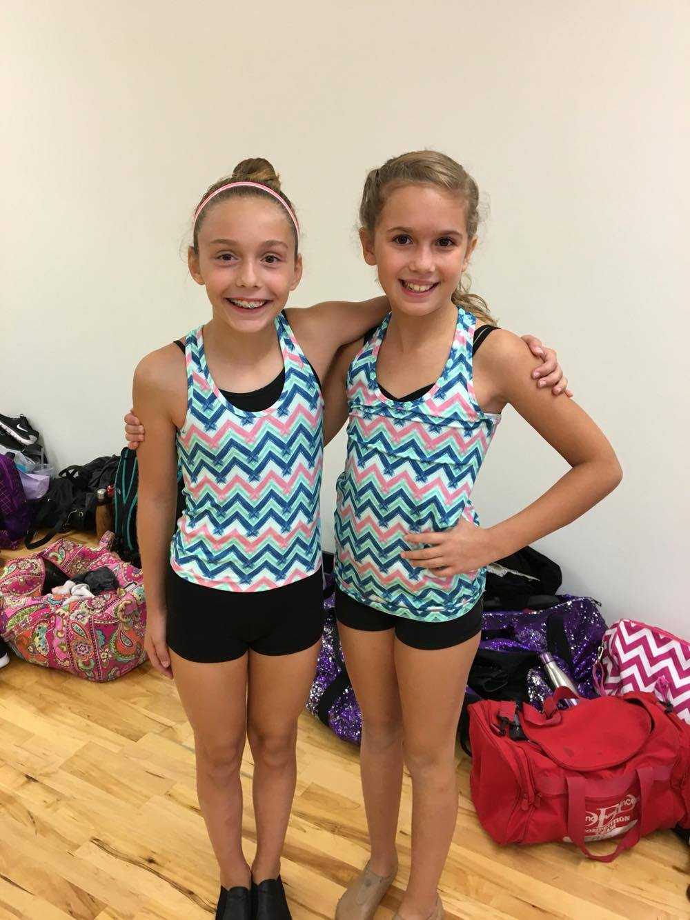 Ellie and Mia ready to start their day dancing!