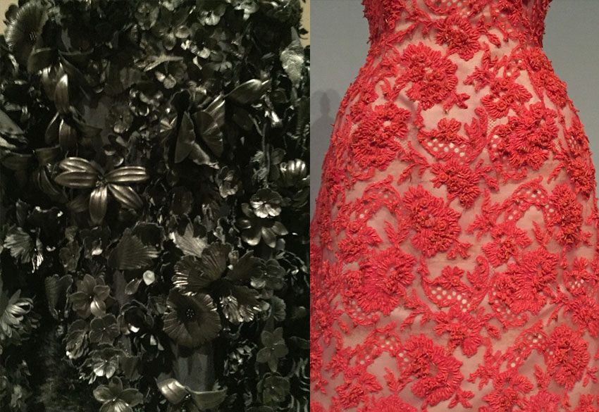 "Above left is a detail of ""Coat"" from 2014 by Valentino S.P.A (Italian, founded 1959). Above right is a detail of ""Evening Dress"" from 1963 by House of Givenchy (French, founded 1952)."
