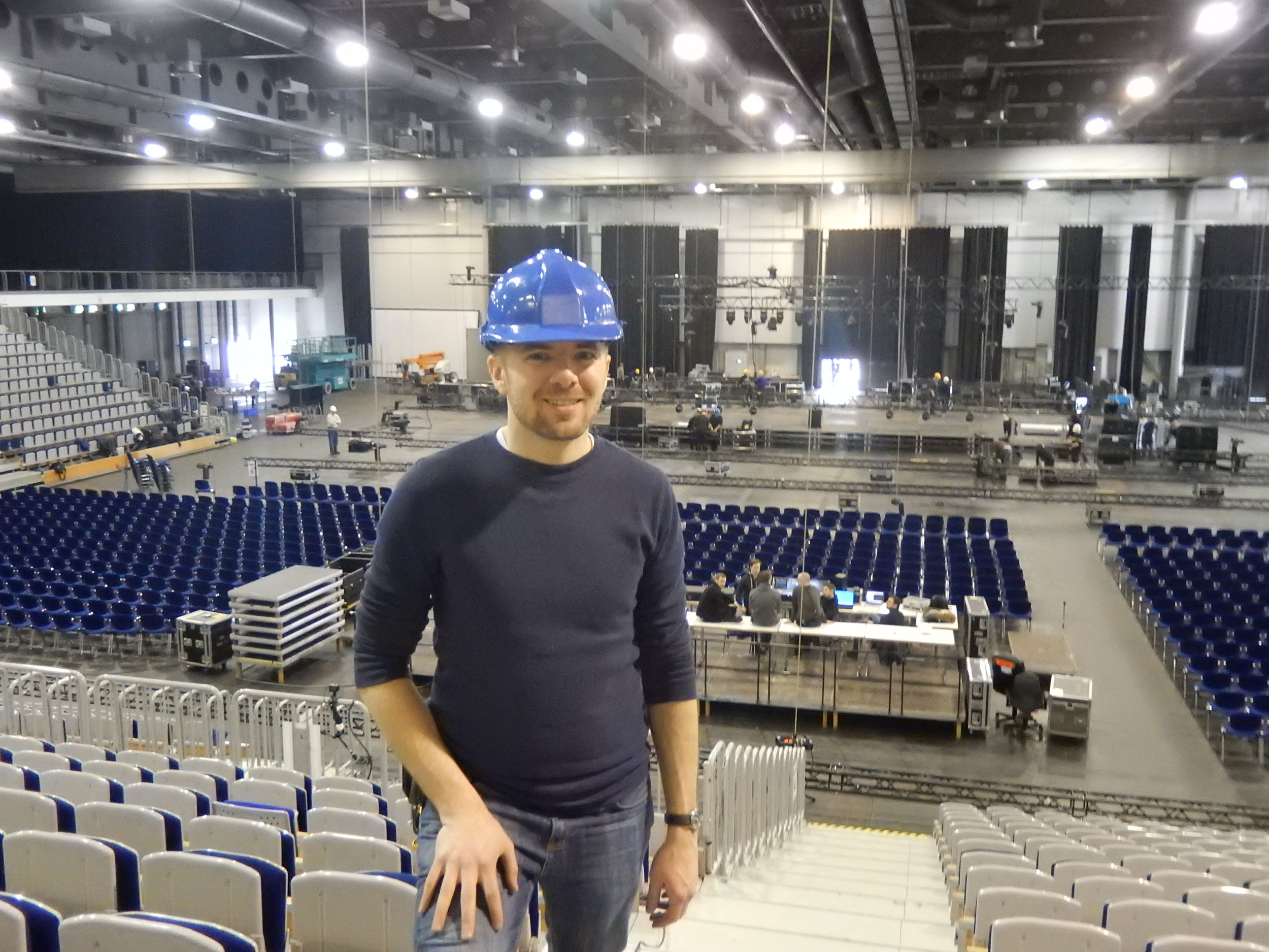 Hard at work building a stage in Erfurt, Germany