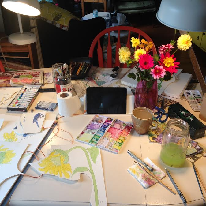 Leanne Rhem's workspace in Picton ON.