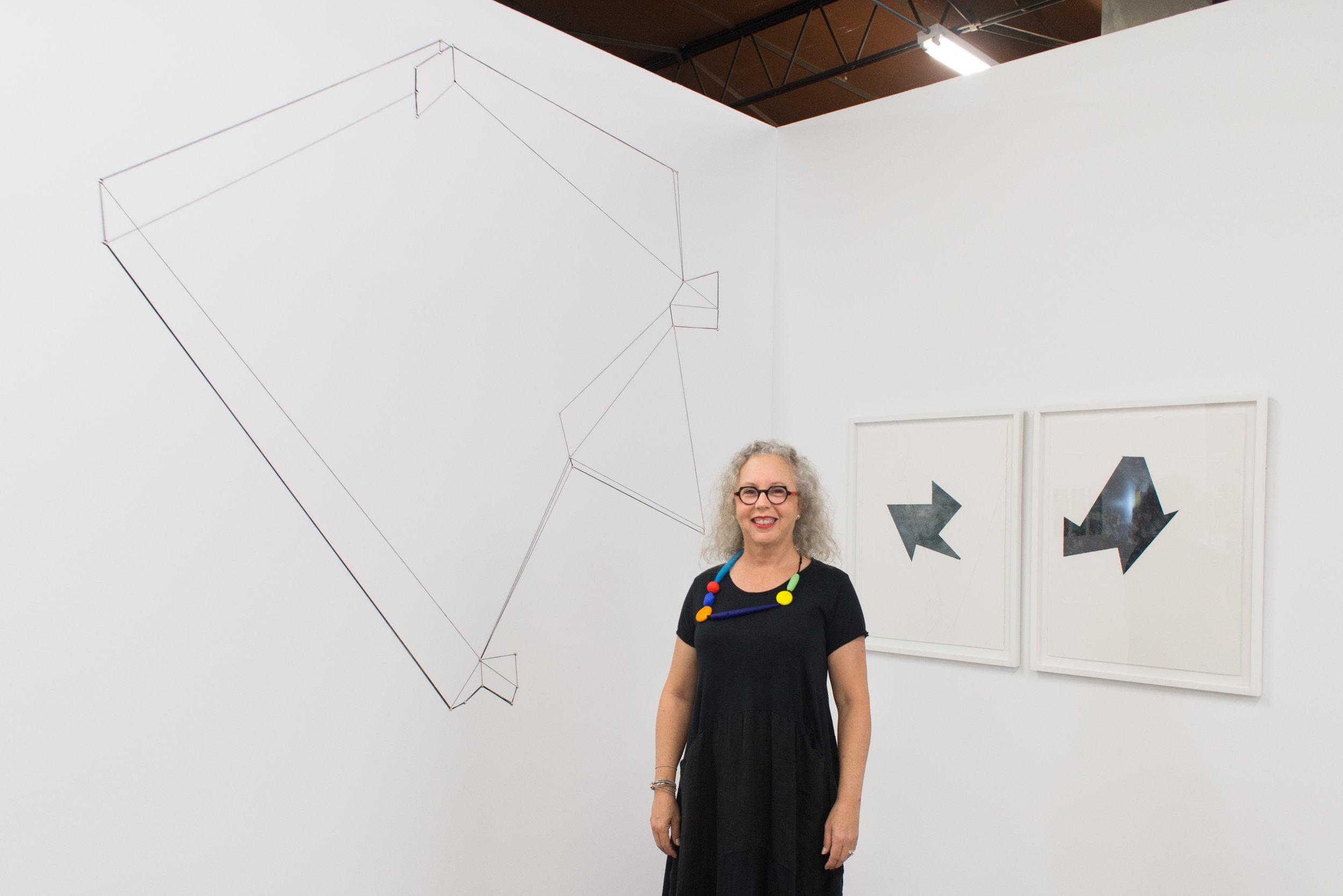 """Territory."" Site specific installation by Luisa Duarte for theTexas Biennial 2017, wax thread and thumbtacks, 77 feet x 11 feet."