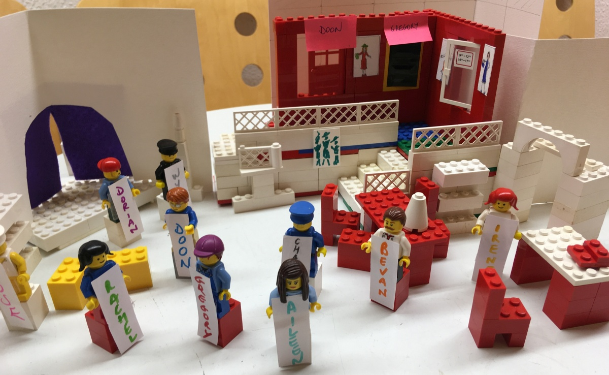 The Lego cast on the Lego stage