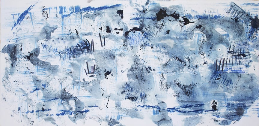 "Beaches in Blue  2014 16"" x 27.875"" Monotype - Oil Ink and Collage on Paper"
