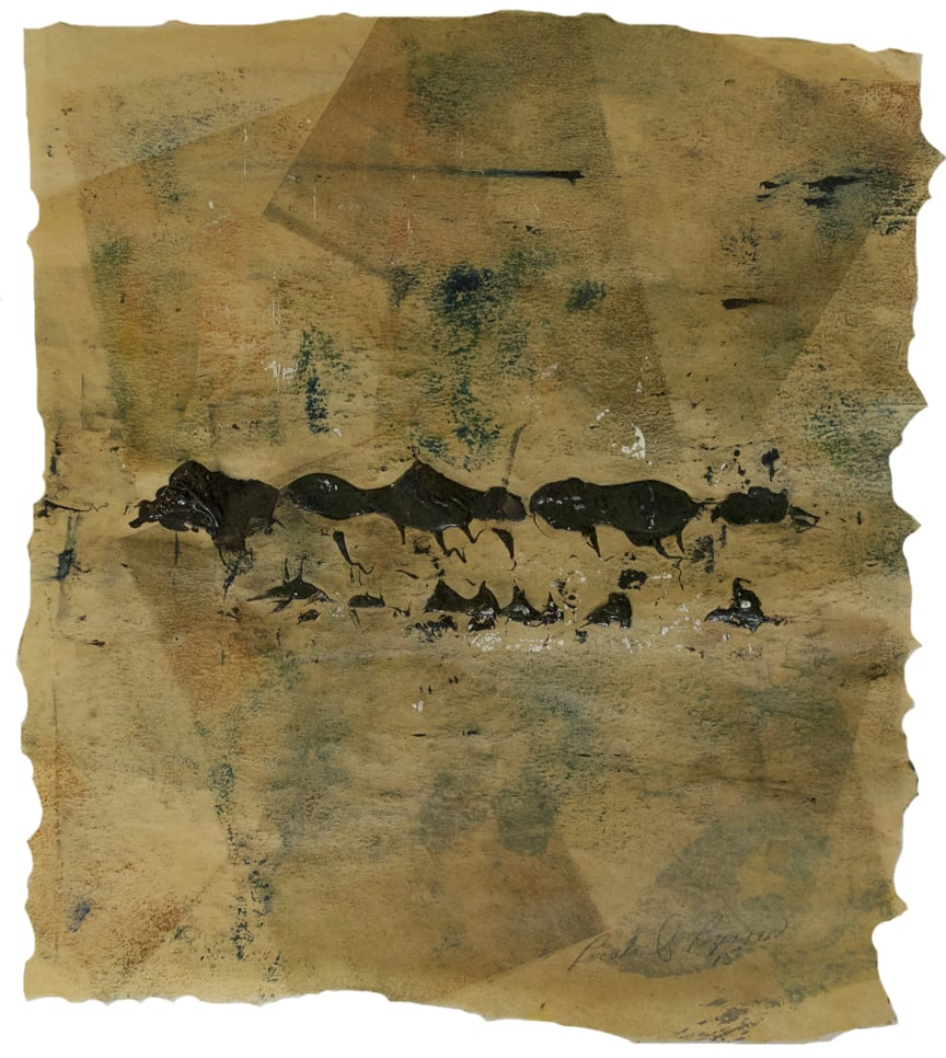 "Vintage Black Hills  2015 11.25"" x 19.75"" Monotype - Oil Ink and Collage on Paper"