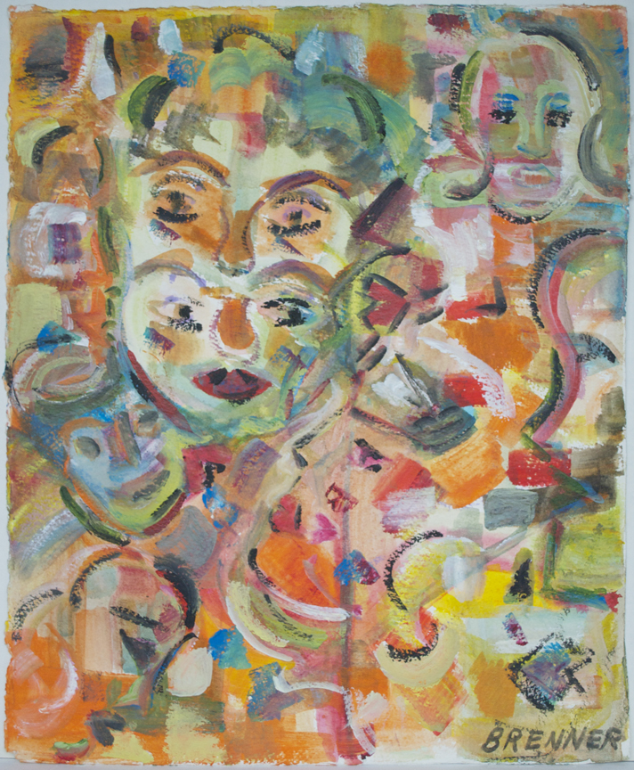 "Multiple Face  1995 16.75"" x 13.25"" Acrylic on Paper"